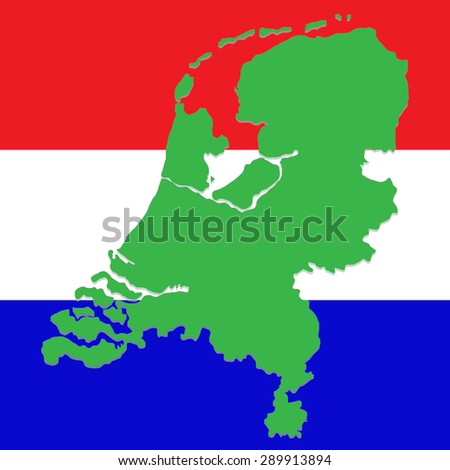 Netherland map on the background of the national flag - stock photo