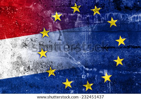 Netherlands and European Union Flag painted on grunge wall