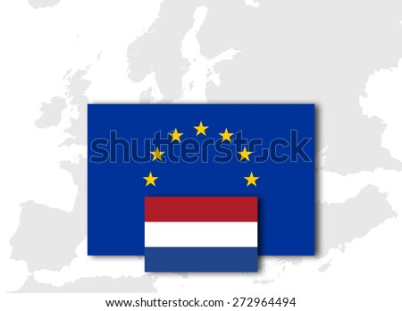 Netherlands and European Union Flag with Europe map background - stock photo