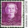 NETHERLANDS ANTILLES - CIRCA 1950: A stamp printed in the Netherlands shows Queen Juliana, circa 1950. - stock photo