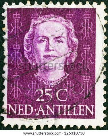 NETHERLANDS ANTILLES - CIRCA 1950: A stamp printed in the Netherlands shows Queen Juliana, circa 1950.