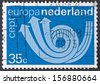 NETHERLANDS - CIRCA 1973: A stamp printed in Netherlands shows postal triple horn symbolizing post, telegraph and telephone, circa 1973 - stock photo