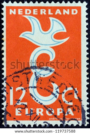 "NETHERLANDS - CIRCA 1958: A stamp printed in the Netherlands from the ""Europa"" issue shows Europa bird, circa 1958."