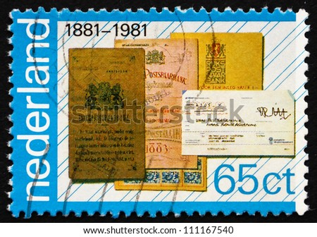 NETHERLANDS - CIRCA 1981: a stamp printed in the Netherlands shows Bank Books, Centenary of National Savings Bank, circa 1981