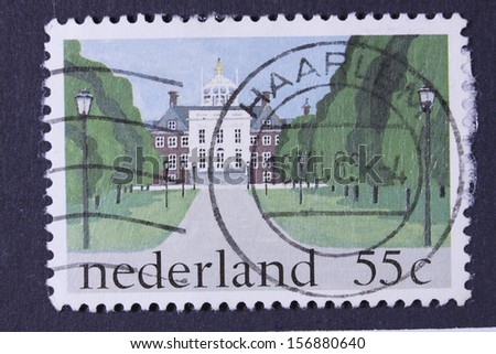 NETHERLANDS - CIRCA 1981: a stamp printed in the Netherlands shows Huis ten Bosch, Royal Palace, The Hague, circa 1981