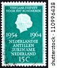 NETHERLANDS - CIRCA 1964: a stamp printed in the Netherlands shows Queen Juliana, 10th Anniversary of the Charter of the Kingdom, Netherlands, Antilles, Suriname, circa 1964 - stock photo