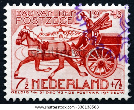NETHERLANDS - CIRCA 1943: a stamp printed in the Netherlands shows 19th Century Horse-drawn Mail Chart, circa 1943