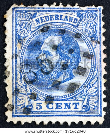 NETHERLANDS - CIRCA 1872: a stamp printed in the Netherlands shows William III, King of the Netherlands, circa 1872 - stock photo