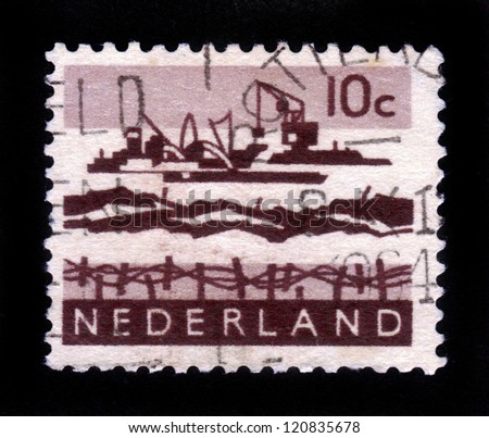 NETHERLANDS - CIRCA 1963: a stamp printed in the Netherlands shows work on deepening the delta, circa 1963
