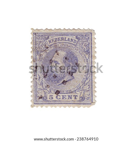 NETHERLANDS - CIRCA 1868: Postage stamp with a picture King of the Netherlands King William III (1817-1890), circa 1868 - stock photo
