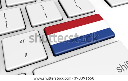 Netherlands digitalization and use of digital technologies concept with the Dutch flag on a computer key 3d illustration.