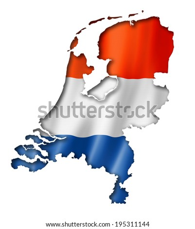 Netherlands flag map, three dimensional render, isolated on white - stock photo