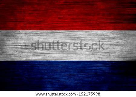 netherlands flag  wood texture - stock photo