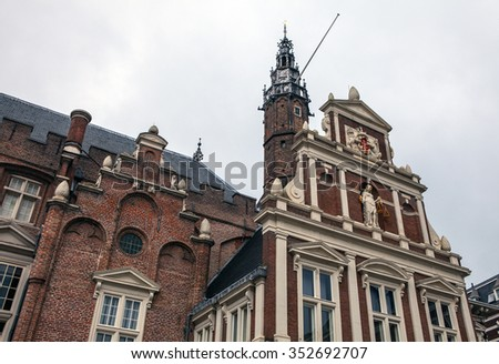NETHERLANDS, HAARLEM - OCTOBER 26, 2015: Big ancient church in Haarlem. Holland.
