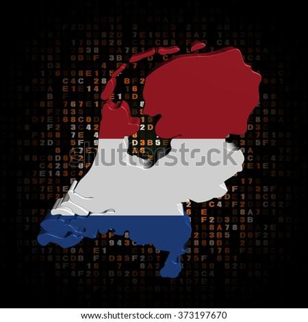 Netherlands map flag on hex code illustration - stock photo