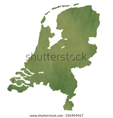 Netherlands map in old green paper isolated on white background.