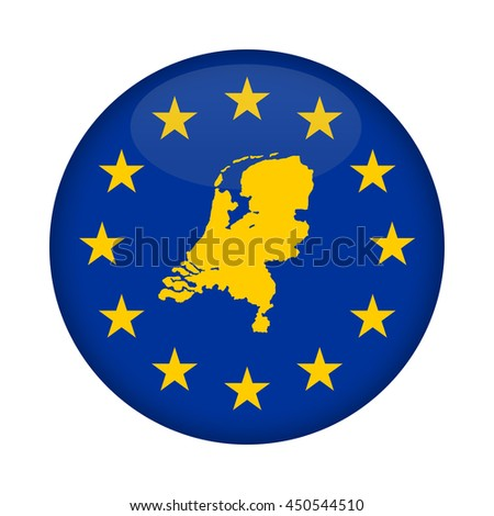 Netherlands map on a European Union flag button isolated on a white background. - stock photo