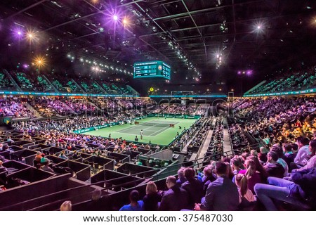 NETHERLANDS, ROTTERDAM - Febuary 10th 2016: at the Sportpaleis AHOY during the ATP 500 World Tour ABN AMRO indoor Tennis Tournament overview stadium