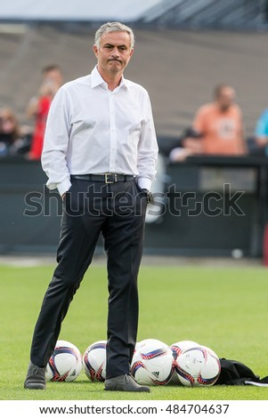 NETHERLANDS, ROTTERDAM - September 15th 2016: the Feijenoord stadium de Kuip during the Europea league match Feyenoord vs Manchester United , trainer coach Jose Mourinho