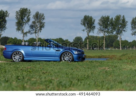 Netherlands 23 September 2016, BMW M3 e46 convertible standing in a polder.