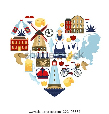 Netherlands travel symbols and dutch landmarks in heart shape flat  illustration