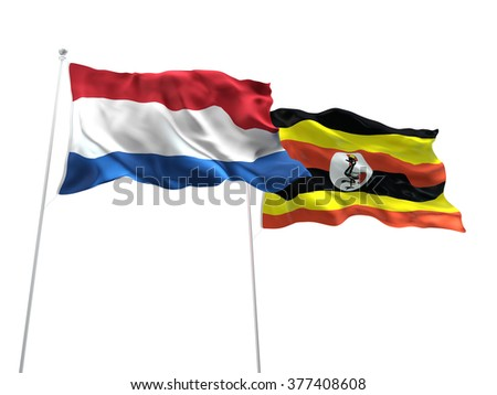Netherlands & Uganda Flags are waving on the isolated white background - stock photo