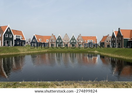 NETHERLANDS - VOLENDAM- CIRCA APRIL 2015: Cottages in the Marina Park at Volendam Roompot parks.