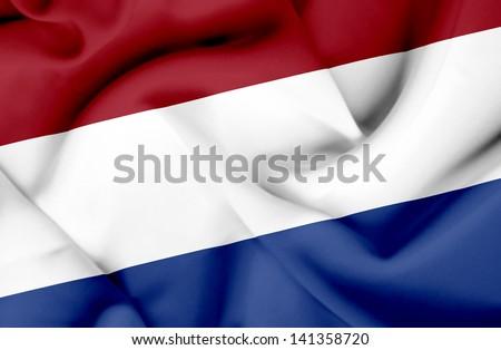 Netherlands waving flag - stock photo
