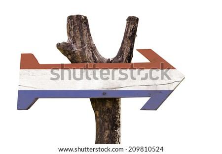 Netherlands wooden sign isolated on white background - stock photo