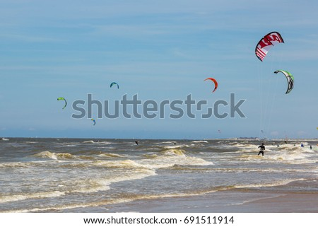 Netherlands, Zandvoort 04 06 2017 Many people are engaged in Kitesurfing