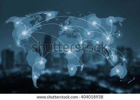 network and world map on blur city,networking concept,Elements of this image furnished by NASA - stock photo
