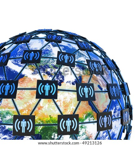 Network around Earth. Hi-res digitally generated image. - stock photo