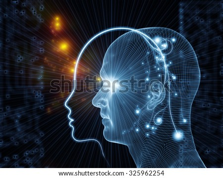 Network Avatar series. Design composed of human heads, lights and grids as a metaphor on the subject of science, artificial intelligence and technology - stock photo