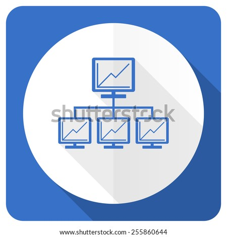 network blue flat icon lan sign  - stock photo