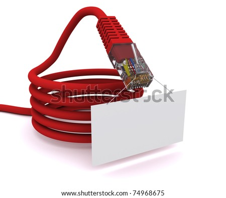 network cable is holding a tablet - stock photo
