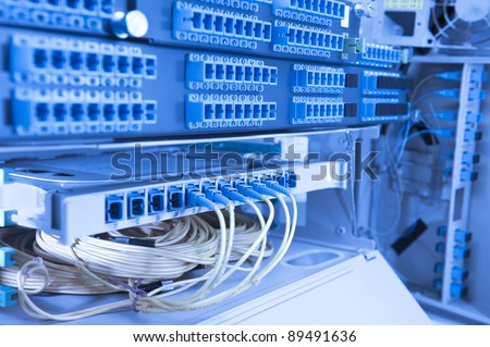 network cables and server in a technology data center