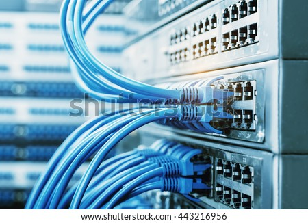 Network Cables Connected Network Switches Stock Photo (100% Legal ...