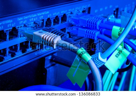 network cables connected to hub