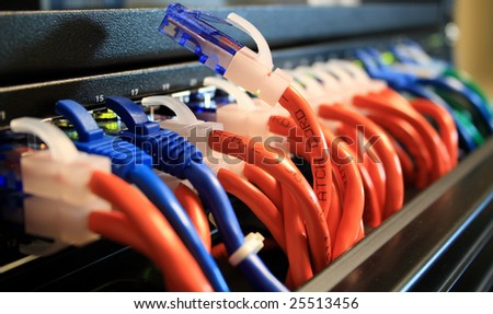Network Cables in a Server Room with One Unplugged.  Networking Concept. - stock photo