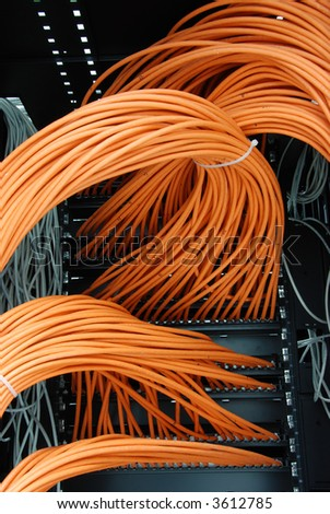 network cables in rack - stock photo