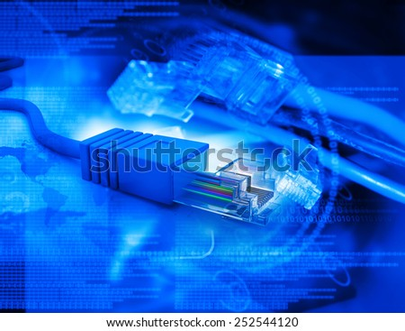 Network cables on abstract tech background  - stock photo