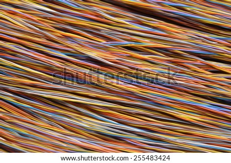 Network cables, wires in telecommunication systems  - stock photo