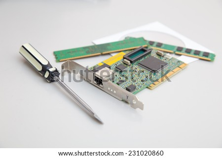 network card ,screwdrivers, RAM and disk