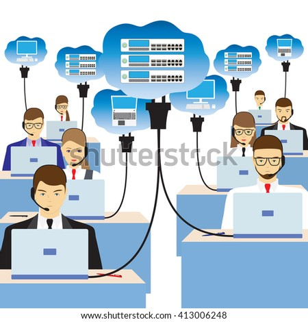 Network cloud technology. People sitting at the table and working on the network. Support service. Call center. - stock photo