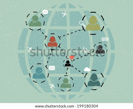 network communication. abstract retro poster.(rasterized version) - stock photo