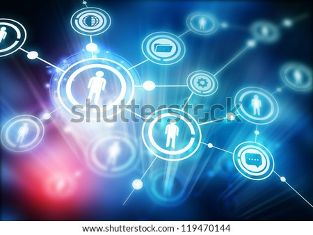 Network Community - Illustration with connected people. - stock photo