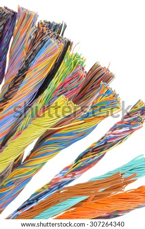 Network computer cables, abstract transmission in telecommunications systems - stock photo