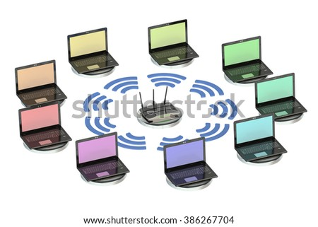 network computing concept with router and laptops