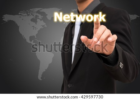 Network concept  business man selecting virtual interface. - stock photo