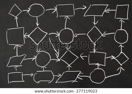 Network concept diagram drawn on the blackboard